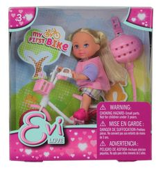 Evi Love My First Bike Doll - Blonde (Colors/Styles Vary) All Toys, Toys R Us, Tiny Dolls, Kids Store, Learning Games, Blonde Color, Action Figures, Bike, Pets