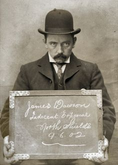 """James Dawson, arrested for Indecent Exposure. North Shields Police Station, 9th June 1902."""