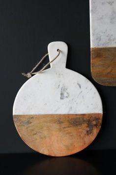 Marble and Wood Pizza Board - Round