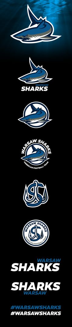 Sports branding for a new football team - Warsaw Sharks Inspiration Logo Design, Shark Logo, Sports Graphic Design, Sports Team Logos, Esports Logo, Professional Logo Design, Logo Sticker, Letter Logo, Cool Logo
