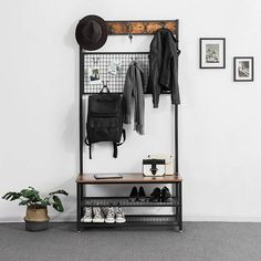 VASAGLE Industrial Coat Stand, Shoe Rack Bench with Grid Memo Board, 9 Hooks and Storage Shelves, Hall Tree with Stable Metal Frame, Rustic Brown Industrial Interior Design, Industrial Interiors, Home Interior Design, Modern Industrial Decor, Industrial Bedroom Decor, Industrial Shoe Rack, Industrial Apartment, Simple Interior, Rustic Hall Trees
