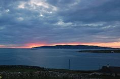 View at sunset from Maghery Beach, County Donegal. The island in the distance is Arranmore