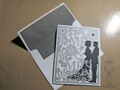 """""""Mr. & Mrs."""" Wedding Card using Taylored Expressions cutting plate and Cheery Lynn """"I Do"""" bride and groom silhouette die"""