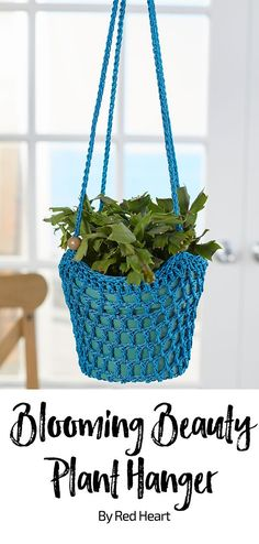 Blooming Beauty Plant Hanger free crochet pattern in Crochet Nylon. Perfect for adding a bit of nature inside the home or outside on the porch, hanging planters are loved by home decorators. This crocheted hanger will accent any decorating style. Quick Crochet, Crochet Home, Crochet Gifts, Free Crochet, Irish Crochet, Crochet Basket Pattern, Easy Crochet Patterns, Crochet Plant Hanger, Plant Hangers