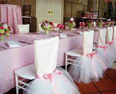 Ballerina Themed | Tutu inspired chair covers + sash - such a pretty party for a little girl!