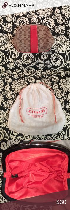 change purse Coach change purse with orang stripe in center// dust bag comes FREE!!// EXCELLENT CONDITION!!!! Coach Bags Mini Bags