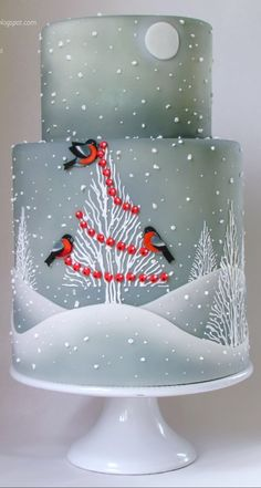 pretty winter scene on a cake. could be used for a winter wedding or even a holiday party. I love the background with the trees!