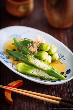 Okra Ohitashi is a simple, light, and flavorful Japanese side dish of blanched okras in a soy sauce-based marinade. Prepare it ahead of time, so you can serve this salad instantly for dinner. Japanese Side Dish, Japanese Salad, Japanese Dishes, Japanese Menu, Japanese Soup, Japanese Style, Easy Japanese Recipes, Asian Recipes, Japanese Recipes