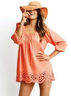 Peach Cover up Style outfit clothing women apparel fashion hat summer beautiful