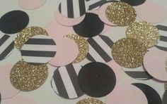 Pink Gold Black Paris Eiffel tower inspired table decor Birthday party, bridal or baby shower gold, pink, black and white!