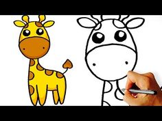 Drawing Doodle Easy Very Easy! How to Draw Cute Cartoon Giraffe. Art for Kids! Easy Giraffe Drawing, Giraffe Cartoon Drawing, Cartoon Drawing Images, Baby Animal Drawings, Giraffe Painting, Cartoon Drawings Of Animals, Giraffe Art, How To Draw Giraffe, Drawing Animals