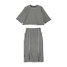 Striped Tee and Skirt Set (Black) | STYLENANDA