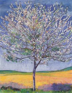 """Cherry Tree in Bloom - Ferdinand Hodler  - """"Break open a cherry tree and there are no flowers, but the spring breeze brings forth myriad blossoms.""""  ~Ikkyu Sojun"""