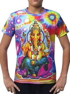 "Sublime S/S T : Psy Ganesha Fully printed short sleeve T shirt. This shirt is an ""All Over"" printed T shirt that will really grab people's attention. The design is printed using sublimation printing on a high quality polyester / Dri-Fit blended shirt. This allows for extremely vibrant colors that will never fade away no matter how many times it gets washed, & results in an extremely soft ""feel"" to the shirt, providing ultimate comfort. Artwork by Space Tribe"