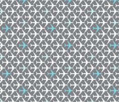 Blue Planes and Grey fabric by toothpanda on Spoonflower - custom fabric