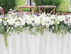 Purple and White Estate Wedding // garland with eucalyptus + peonies + roses