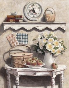 T. C. Chiu - White Roses and Basket