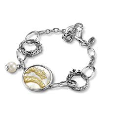John Hardy Women's Batu Naga silver dragon link bracelet in 18mm with pearl and mother of pearl. See more of the John Hardy Collection at www.leonardojewelers.com