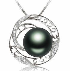 10mm Tahitian Black Pearl 18K White Gold Luxury Diamond Pendant