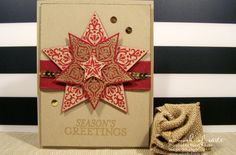 Stampin' Up! ... handmade Christmas card ... starry card featuring the Bright and Beautiful Bundle ... kraft and burgundy with flashes of gold ... warm feeling of kraft ... gold embossed flourishes and deep red ... layered star ... wonderful card!!