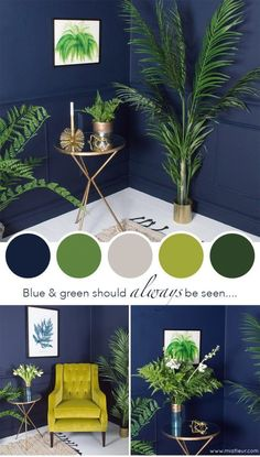Interior Design: Greenery is the Pantone Colour of the Year, and combined with a deep moody blue, it creates a really striking interior colour scheme. Incorporate lots of real or faux houseplants to keep it fresh and zingy. Interior Color Schemes, Room Color Schemes, Colour Combinations Interior, Green Color Schemes, Blue Colour Palette, Interior Colors, Gray Interior, Bedroom Colour Scheme Ideas, Kitchen Interior
