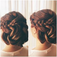 Updo styled by #glopandglam founder Andrea! Styled using Glop and Glam.    #updo #eventhair #weddinghair #braids #curls #waves