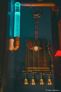 The Abyss, Italy, Interior design, bar, pub, Kraken, water, marine, blue, copper, steampunk, octopus, musical, instruments, guitar