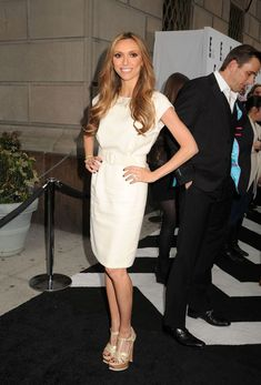 e07a897d6e Giuliana Rancic Cocktail Dress - Giulianna Rancic looked liek a vintage  beauty in this cream belted dress at the E!