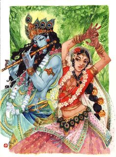 """Krishna and Radha"" by Alice-Bobbaji at Deviantart."