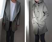 Gray coat,Hoodie winter coa, Hooded jacket long sleeves,women clothing, baggy coat with pockets, XS,S,M,L 70% Wool