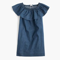 $59.50Polished, easy and in a special blue hue we worked hard to get just right, our chambray pieces are so amazing, even adults want to wear them. Bonus: She can wear this elastic-neck style on or off her shoulders for lots of versatility. <ul><li>Shift silhouette.</li><li>Falls above knee.</li><li>Cotton.</li><li>Machine wash.</li><li>Import.</li><li>Since this item is indigo dyed, it's prone to crocking, or color transer, so wear (and wash) it with dark colors until it's worn…
