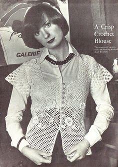 PDF Vintage Womens Ladies Crochet Pattern Irish Crochet Blouse Irish Crochet, Crochet Motif, Knit Crochet, Crochet Patterns, Period Costumes, Crochet Blouse, Vintage Knitting, Capes, Crochet Clothes
