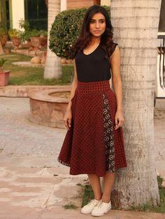 Maroon Hand Block Printed Cotton Skirt