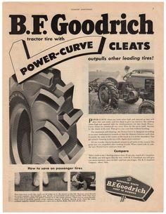 Vintage 1950 B.F. Goodrich Tires Magazine Print Ad 1950s Farm Advertisement