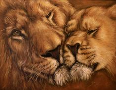 """The original oil painting """"The Lions' Tenderness"""" may become a great gift for a birthday, wedding or wedding anniversary. The portrait of a pair of noble and graceful safari animals demonstrates tenderness and devotion to each other."""
