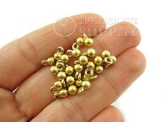 25 pc Mini Gold Ball Charms 22k Gold  Plated by turkisheyesupply