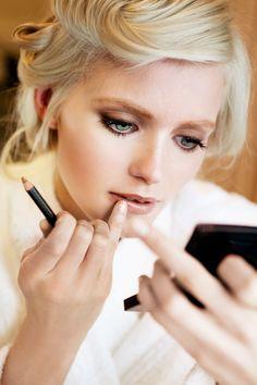 Love monochromatic lip and eye makeup