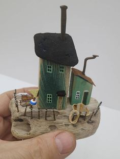 This piece, as with all my sculptures, is a unique, handmade miniature seaside harbour scene, made from North East beach driftwood. The wood is sourced from Seaburn, Roker and Seaham, as well as other North East beaches. I do not have a Production line - each piece found has its own