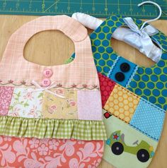 Adorable bibs  These designs/ideas can be used on other bib patterns you might have.