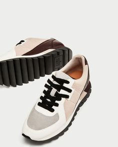 Image 3 of CONTRASTING LEATHER PLATFORM SNEAKERS from Zara