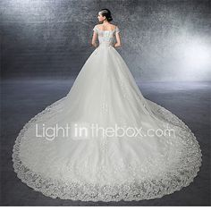 A-line Wedding Dress Floral Lace Cathedral Train Off-the-shoulder Satin Tulle with Ruffle Appliques Beading Crystal 2017 - $179.99