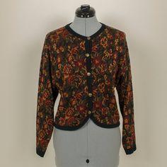afa08d0fbab Items similar to Vintage 1980's Women's Boho Cottage Chic Boyfriend Floral  Cardigan - Size S - by XXVI on Etsy