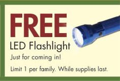 FREE LED Flashlight at RCWilley Stores on http://www.icravefreebies.com/