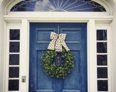 Faux Boxwood Wreath, Boxwood Wreath with Chevron Burlap Bow, spring and summer boxwood wreath - Edit Listing - Etsy