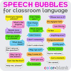A big bundle of speech bubbles with key phrases of classroom language will become a great visual aid for students and a useful resource for teachers. English For Students, Learning English For Kids, English Lessons For Kids, Kids English, English Language Learning, Teaching English, Learn English Grammar, English Writing Skills, English Vocabulary Words