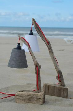 Nice lamp made with two small driftwood pieces and red wiring, handmade of course! Unavailable but you will find more driftwood lamps with the link bellow. wooden Driftwood Desk Lamp - iD Lights
