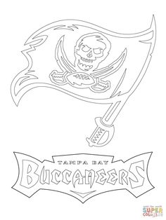 Tampa Bay Buccaneers Logo coloring page from NFL category. Select from 31927 printable crafts of cartoons, nature, animals, Bible and many more. Free Printable Coloring Pages, Free Coloring Pages, Coloring Books, Buccaneers Football, Tampa Bay Buccaneers, Football Coloring Pages, Dallas Cowboys Shirts, Puzzle Crafts, Graphic Artwork