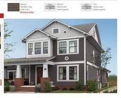 Our hosue will be this style (Craftsman)- I like the dark siding and white trim....light color brick on the foundation though. Gibralter gray- olympic gray siding exterior