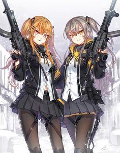 and Girls Frontline. Fille Anime Cool, Art Anime Fille, Cool Anime Girl, Beautiful Anime Girl, Anime Art Girl, Anime Girls, Anime Best Friends, Friend Anime, Anime Military