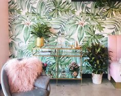 Light Banana Leaves Removable Wallpaper, Banana leaf, Watercolor wall mural – Peel and Stick, Monstera leaf – foliage, Tropical - Home Page Tropical Bedrooms, Watercolor Walls, Watercolor Wallpaper, Deco Floral, Diy Planters, Planter Ideas, Tropical Decor, Tropical Prints, Tropical Interior